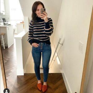 Madewell Stripe Metcalf Mock Neck Sweater